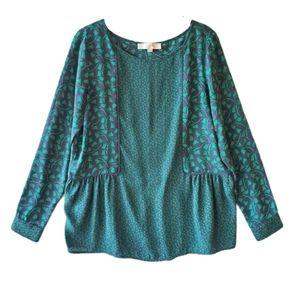 Loft peplum ivy blouse navy green small